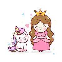 Simpatica principessa unicorno con cartone animato ragazza kawaii, adorabile amicizia vettore