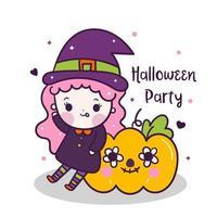 Kawaii Halloween ragazza con zucca cartoon, Pretty kids Dolcetto o scherzetto per le vacanze, costume vettore