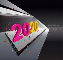 Spazio interno moderno con luci a led e testo 2020
