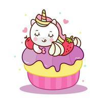 Simpatico cartone animato cupcake dolce unicorno, fata pony bambino vettore