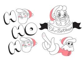 Disegno di cartone animato minimalista di Babbo Natale vettore