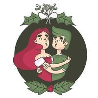 Bacio di Natale sotto il vischio vettore