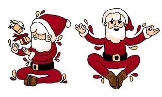 Disegni di Babbo Natale spensierati disegnati a mano vettore