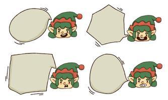 Set di testo bolla di Natale carino elfo