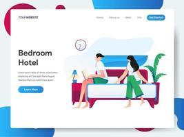 Modello di pagina di destinazione della camera da letto dell'hotel