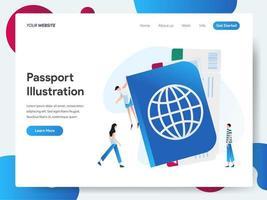 Modello di pagina di destinazione del passaporto vettore