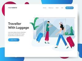 Modello di pagina di destinazione del viaggiatore con bagagli