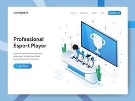 Modello di pagina di destinazione di Professional Esport Player vettore