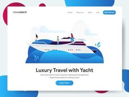 Modello di pagina di destinazione di viaggi di lusso con yacht vettore