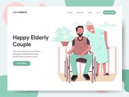 Modello di pagina di destinazione di coppia di anziani felici vettore
