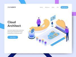 Modello della pagina di destinazione di Cloud Architect vettore