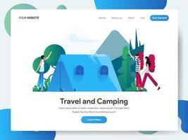 Modello di pagina di destinazione di viaggio e campeggio vettore