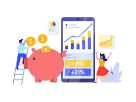 Investimento online con il concetto di telefono cellulare. vettore