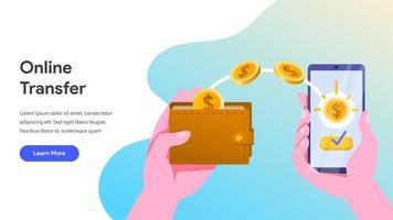 Modello di pagina di destinazione del trasferimento di denaro online