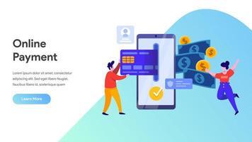 Pagamento mobile o concetto di trasferimento di denaro. vettore