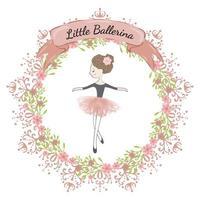 Piccola ballerina carina principessa del balletto. vettore