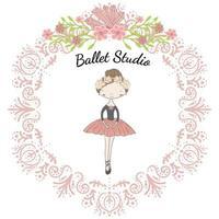 Piccola ballerina carina principessa del balletto in cornice floreale circolare vettore