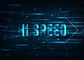 Disegno astratto di tecnologia con testo ad alta velocità