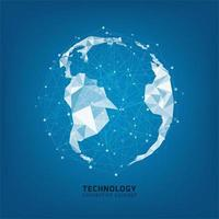 Concetto di connessione globale di tecnologia con pianeta digitale.