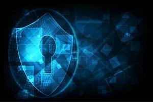 Icona scudo con serratura su sfondo di dati digitali.