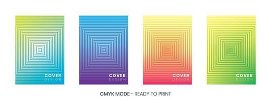 Set di copertine colorate sfumature di semitono vettore