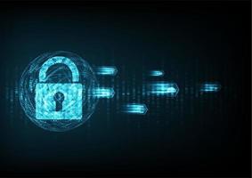 Icona scudo con serratura nella sfera dei dati digitali con uscita icone