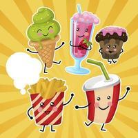 Set di fast food per bambini vettore