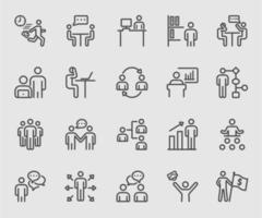 Icona di linea umana e di lavoro aziendale
