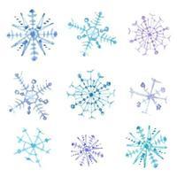Set di fiocchi di neve ad acquerelli. Decorazioni natalizie