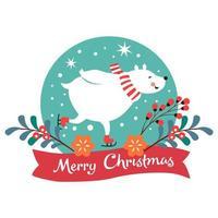 Cartolina di Natale con orso polare pattinaggio vettore