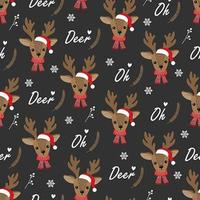 Oh Deer Christmas seamless pattern con renne vettore