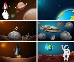 Set di scene spaziali vettore