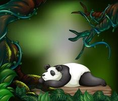 Panda che dorme nella foresta oscura vettore