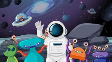 Astronauta e scena aliena vettore