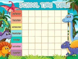 Modello di orario scolastico con tema dinosauro vettore