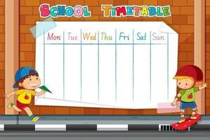 Modello dell'orario della scuola sul muro di mattoni