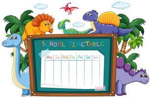 Orario scolastico registrato sulla lavagna circondata da dinosauri vettore