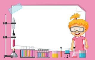 Documento in bianco legato con la ragazza che lavora nel laboratorio di scienza
