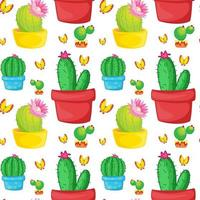 Fumetto senza cuciture delle mattonelle del modello con i cactus e le farfalle