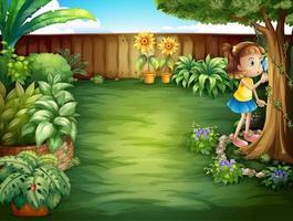 Una bambina che studia le piante nel giardino vettore