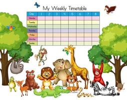 Molti animali intorno al modello di tabella dei tempi