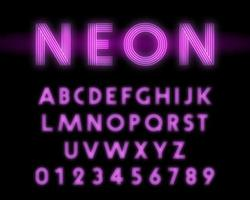 Carattere alfabeto retrò al neon. Linea design di lettere e numeri