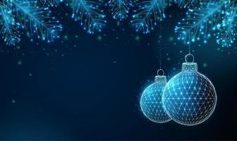 Cartolina d'auguri di felice anno nuovo con ornamenti e rami di abete. vettore