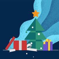 scatola regalo aperto davanti all'albero di Natale con sfondo di tono blu