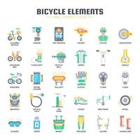 Icone piane di elementi di biciclette vettore