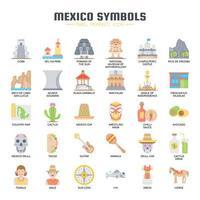 Icone di colore piatto elementi Messico vettore