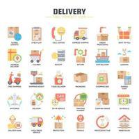 Icone di colore piatto di consegna