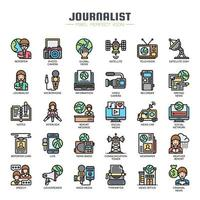 Icone di linea sottile elementi giornalista vettore