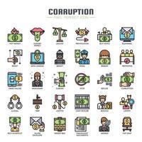 Icone di colore di linea sottile di elementi di corruzione