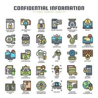 Informazioni riservate Icone di linea sottile vettore
